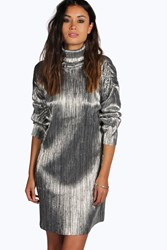 Boohoo Pleated High Neck Metallic Shift Dress Silver
