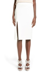 Wayf Front Slit Pencil Skirt White