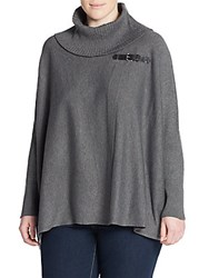 Calvin Klein Plus Size Buckled Sweater Cape Charcoal