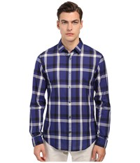 Vince Long Sleeve Graphic Plaid Button Up Twilight Blue Men's Long Sleeve Button Up Multi