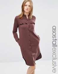 Asos Tall Sweat Midi Dress With Ruffle Chocolate Brown