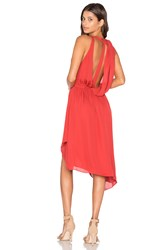 Haute Hippie Sleeveless Handkerchief Wrap Mini Dress Red