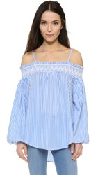 English Factory Off The Shoulder Blouse Blue White