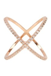 18K Rose Gold Plated Sterling Silver X Cz Accented Ring Pink