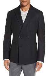 Flynt Men's Big And Tall New Fit Herringbone Wool And Cashmere Sport Coat Black
