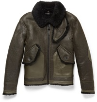 Coach Leather Trimmed Shearling Bomber Jacket Green