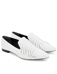 Proenza Schouler White Leather Woven Loafers