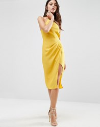 Asos One Shoulder Drape Midi Dress Mustard Yellow