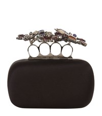 Alexander Mcqueen Floral Satin Knuckle Box Clutch Female Black