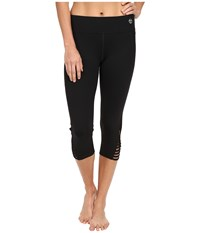 Trina Turk Strapped Solids Mid Length Leggings Black Women's Workout