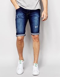 Loyalty And Faith Denim Short Dark Wash Distressing Jean Blue