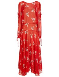 Preen Red Silk Printed Sharon Dress