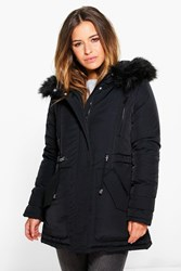 Boohoo Petite Lilly Luxe Parka With Faux Fur Hood Black