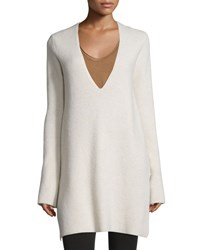 Helmut Lang Ribbed Wool Blend V Neck Tunic Tusk