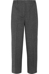 Prada Cropped Wool Blend Mouline Straight Leg Pants Charcoal