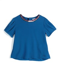 Little Marc Jacobs Sequin Trim Short Sleeve Crepe Blouse Dark Blue