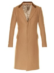 Alexander Mcqueen Contrast Collar Single Breasted Camel Wool Coat Beige