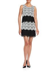 Jessica Simpson Tiered Lace Cocktail Dress Ivory Black
