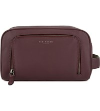 Ted Baker Zip Leather Washbag Oxblood