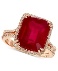 Effy Collection Rosa By Effy Emerald Cut Ruby 7 5 8 Ct. T.W. And Diamond 1 2 Ct. T.W. Ring In 14K Rose Gold