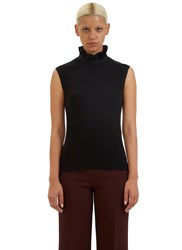 Fendi Ruffle Collared Ribbed Tank Top Black