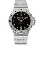 Bulgari Vintage Stainless Steel Diagono Scuba Diver Date Watch Stainless Steel One Colour