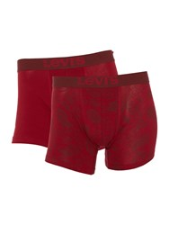 Levi's 2 Pack Paisley Print And Plain Trunk Set Red