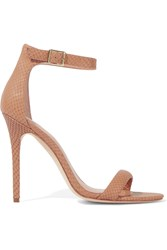 Halston Ester Snake Effect Leather Pumps Nude