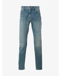 Saint Laurent Distressed Jeans Light Blue Denim Black
