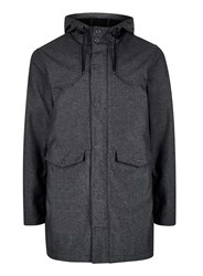 Topman Black Fleece Lined Parka