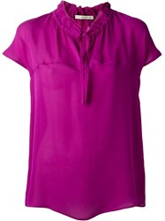 Etro Band Collar Blouse Pink And Purple