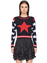 Just Cavalli Star Lurex Cotton Blend Jacquard Sweater