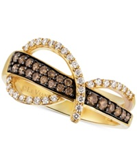 Le Vian Chocolatier Chocolate And White Diamond Swirl Ring In 14K Gold 1 2 Ct. T.W.