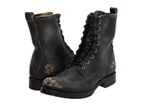 Frye Veronica Combat Black Stone Wash Women's Lace Up Boots