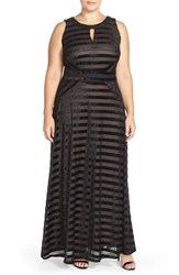 Plus Size Women's London Times Embellished Velvet Panne Stripe A Line Gown