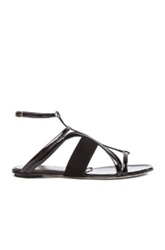 Oscar De La Renta Lexina Patent Leather And Suede Sandals In Black