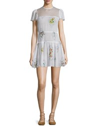 Red Valentino Short Sleeve Framed Floral Mini Dress Latte Women's Size 42 4
