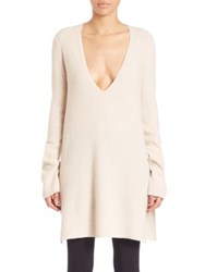 Helmut Lang Plunging V Neck Wool Blend Sweater Tusk