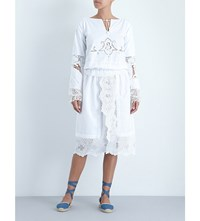 Place Nationale Open Embroidered Vintage Cotton Peasant Dress White