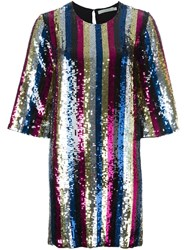 Amen Striped Sequin Dress Multicolour