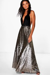 Boohoo Ruby Floor Sweeping Sequin Maxi Skirt Gold