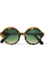 Cutler And Gross Round Frame Tortoiseshell Acetate Gold Tone Sunglasses
