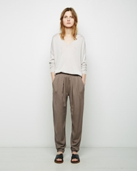 Black Crane Pleats Pants Light Grey