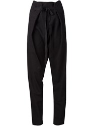 Isabel Benenato Drop Crotch Loose Fit Trousers Black
