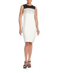 Calvin Klein Embellished Colorblocked Sheath Dress Black Cream