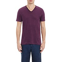 Vince. Men's Linen V Neck T Shirt Purple