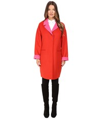 Kate Spade Single Breasted Hidden Button Peacoat 36 Lollipop Red Pink Swirl