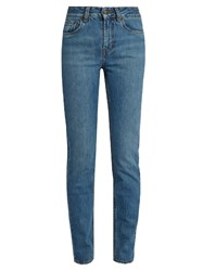 Rockins High Rise Straight Leg Jeans Mid Blue
