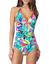 Lauren Ralph Lauren Tropical Halter One Piece Swimsuit Multi