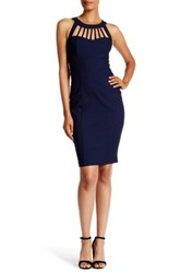 Trixxi Caged Knit Midi Dress Blue